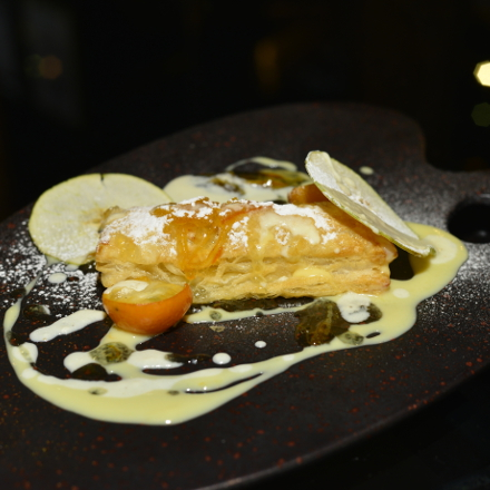 Bundle with mix citrus, Crispiness of Grana Padanowith Black sesame,  Mandarin sauce, Grana Padano cream